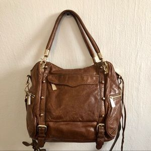 Rebecca Minkoff brown studded satchel tote